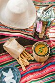 Lentil dip with coriander and goats' cream cheese for a picnic