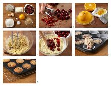 Orange muffins with cherries being made