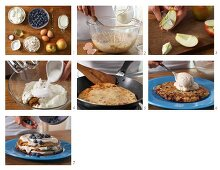 A pancake cake with blueberry quark being made