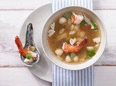 Prawn soup with straw mushrooms and lemongrass