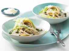 Leek spaghetti with a tuna fish and caper sauce