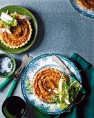 Butternut squash and parmesan tart with a mixed leaf salad