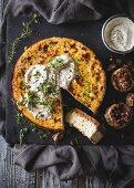 Savoury cheesecake with garlic and ricotta