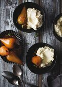 White chocolate mousse with spiced pears