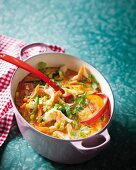 Tom Yum soup with coconut and shrimp (Thailand)