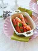 Cooked carrots with caraway seeds and parsley