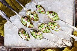 Ceviche on tasting spoons
