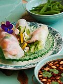 Rice paper rolls with peanut sauce (Asia)