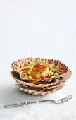 Pan-fried scallops with fennel and tomate & vanilla vinaigrette