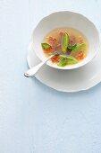 Clear tomato essence with basil & quark dumplings