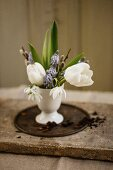 Easter posy in egg cup