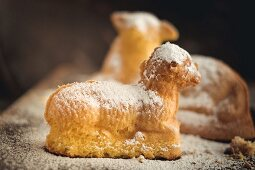 Easter lambs dusted with icing sugar