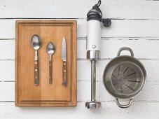 Assorted utensils for preparing baby food