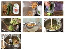 How to prepare courgette, minced meat and pasta purée
