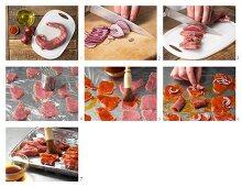 How to prepare pork filet rolls on a kebab