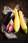 Aubergines and yellow zucchini
