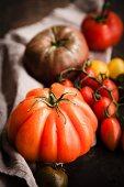 Freshly washed colourful tomatoes