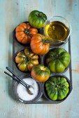 Beefsteak tomatoes, olive oil and salt