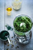 Kale tapenade with spirulina in a blender (superfood)