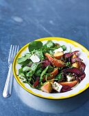 A salad with biltong, nectarines, watercress and feta cheese (South Africa)