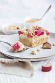 A slice of apple and rhubarb crumble cake