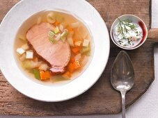 Jellied gammon with yoghurt remoulade