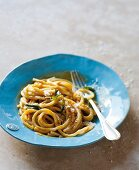 Bucatini pasta with butternut squash, Parmesan and sage