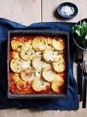 Pasticciata with polenta, sausage and mushrooms