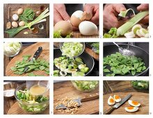 How to prepare green egg salad with peanuts