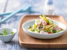Coleslaw with gammon, pineapple and chilli vinaigrette