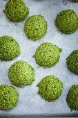 Kale falafels being prepared