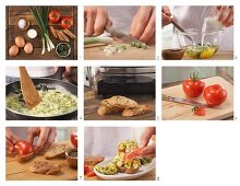 How to prepare scrambled egg with herbs on tomato baguette
