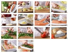 How to prepare herb-coated trout fillets on a bed of vegetable gratin