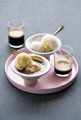 Affogato (vanilla ice cream with espresso, Italian)