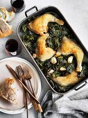 Chicken braised with cavolo nero and wine, Spinach