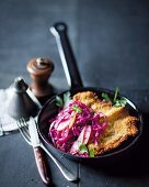 Pork escalope with a couscous coating and warm coleslaw