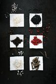 Assorted types of salt and pepper on paper