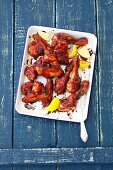 Barbecue chicken winga and drumsticka