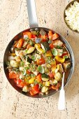 Braised chicken breast with vegetable ratatouille (pepper, aubergine, courrgette and tomatoes)