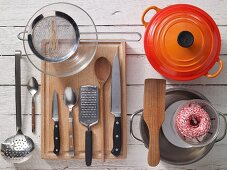 Assorted kitchen utensils for preparing roulades