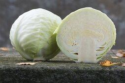 A cabbage cut in half