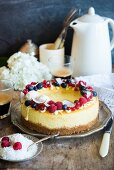Coconut cheesecake with fresh berries