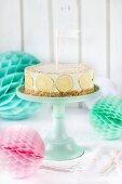 A lemon cheesecake birthday cake