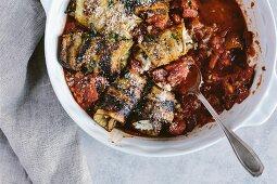 Involtini di melanzana (Italian aubergine rolls)