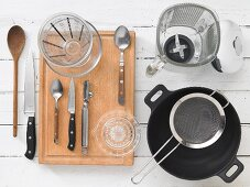 Assorted kitchen utensils for wok dishes