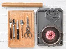 Kitchen utensils for preparing fish parcels