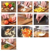 How to prepare a tomato and red pepper omelette