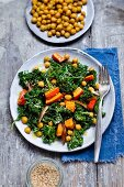 Kale salad with pumpkin, chickpeas, and dates