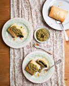 Puff pastry parcels filled with mushrooms (black trumpets) and pesto