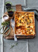 Lasagne with thyme in a casesrole dish